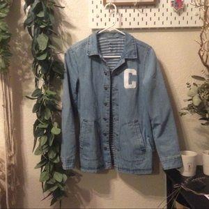 🌿 cute vintage denim jacket letterman embroidered